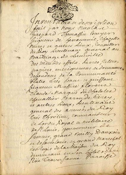 Inventaire des meubles, effets, titres, papiers établi (...) après le décès d'Émilie du Châtelet