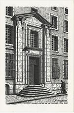 « Portail de l'Hôtel de la Monnaie, vers 1840 », bois gravé par Raymond Simonin