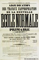 adjudication des travaux de la nouvelle école normale, 1865