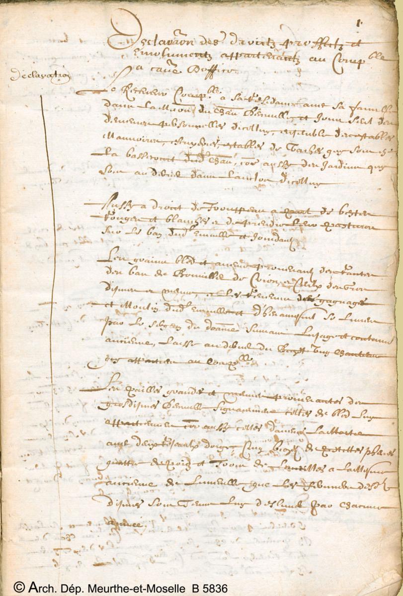 Texte émanant de Joseph Rattel receveur d'Einville-au-Jard, indique les droits, profits et émoluments auxquels il a droit pour son office de comptable et le ...